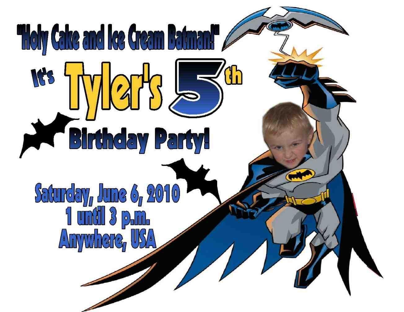 batman birthday invitation card