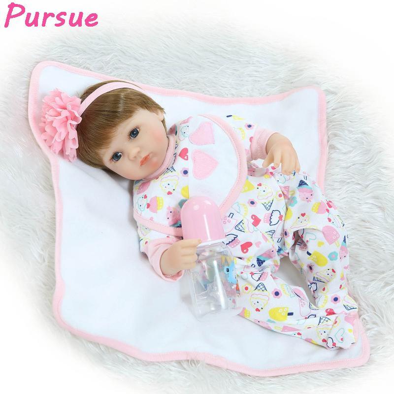 Pursue 17 Inch 43cm Silicone 100 Reborn Babies Real Baby Dolls For Sale Bebe Reborn Menina De Silicone Menina Boneca Baby Alive Affiliate