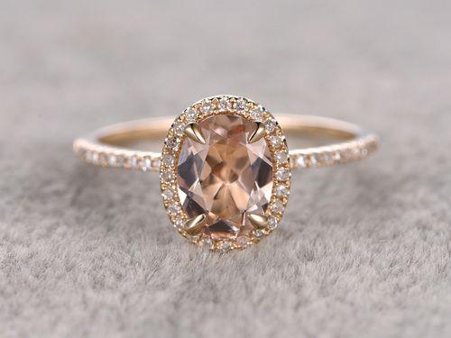 6x8mm Oval Morganite Engagement Ring Diamond Wedding Ring