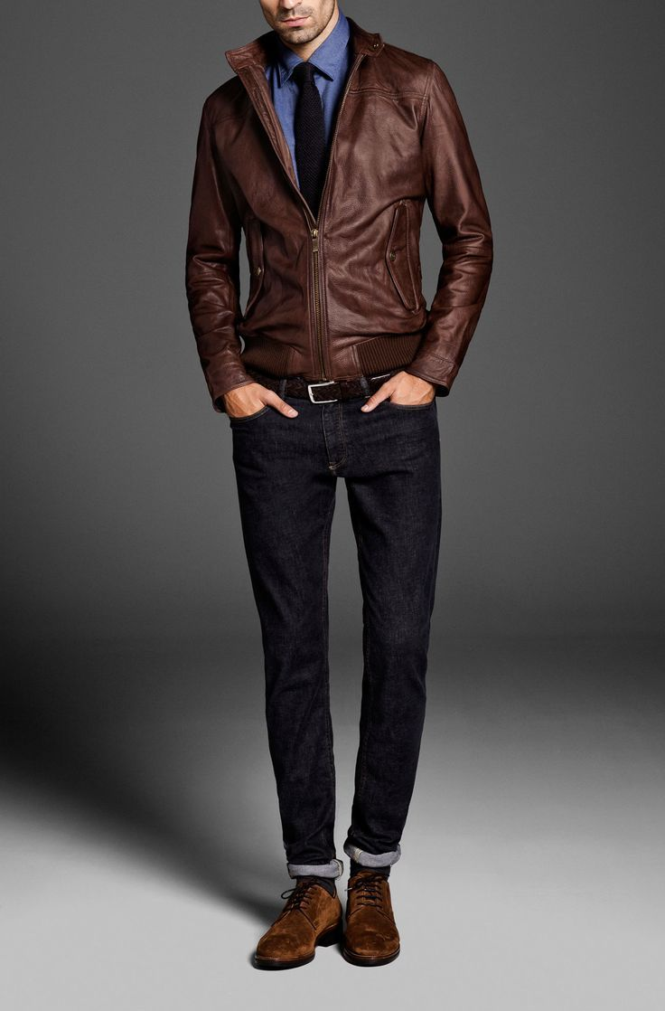 1000  images about Men&39s Brown Leather Jackets on Pinterest | Mens