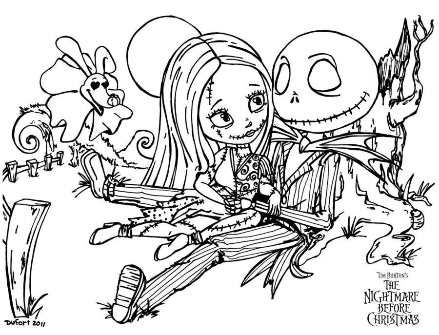 Sally jack romantic evening by jadedragonne printable for Jack and sally coloring pages