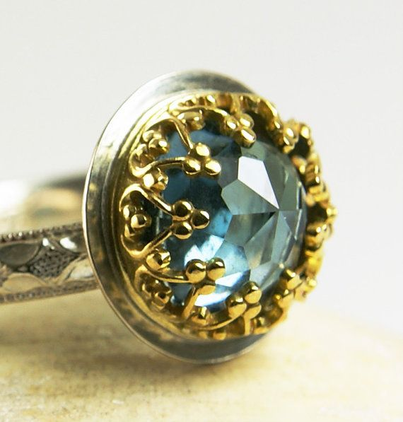 London Blue Topaz Ring 14k Gold Sterling by TazziesCustomJewelry, $145.00