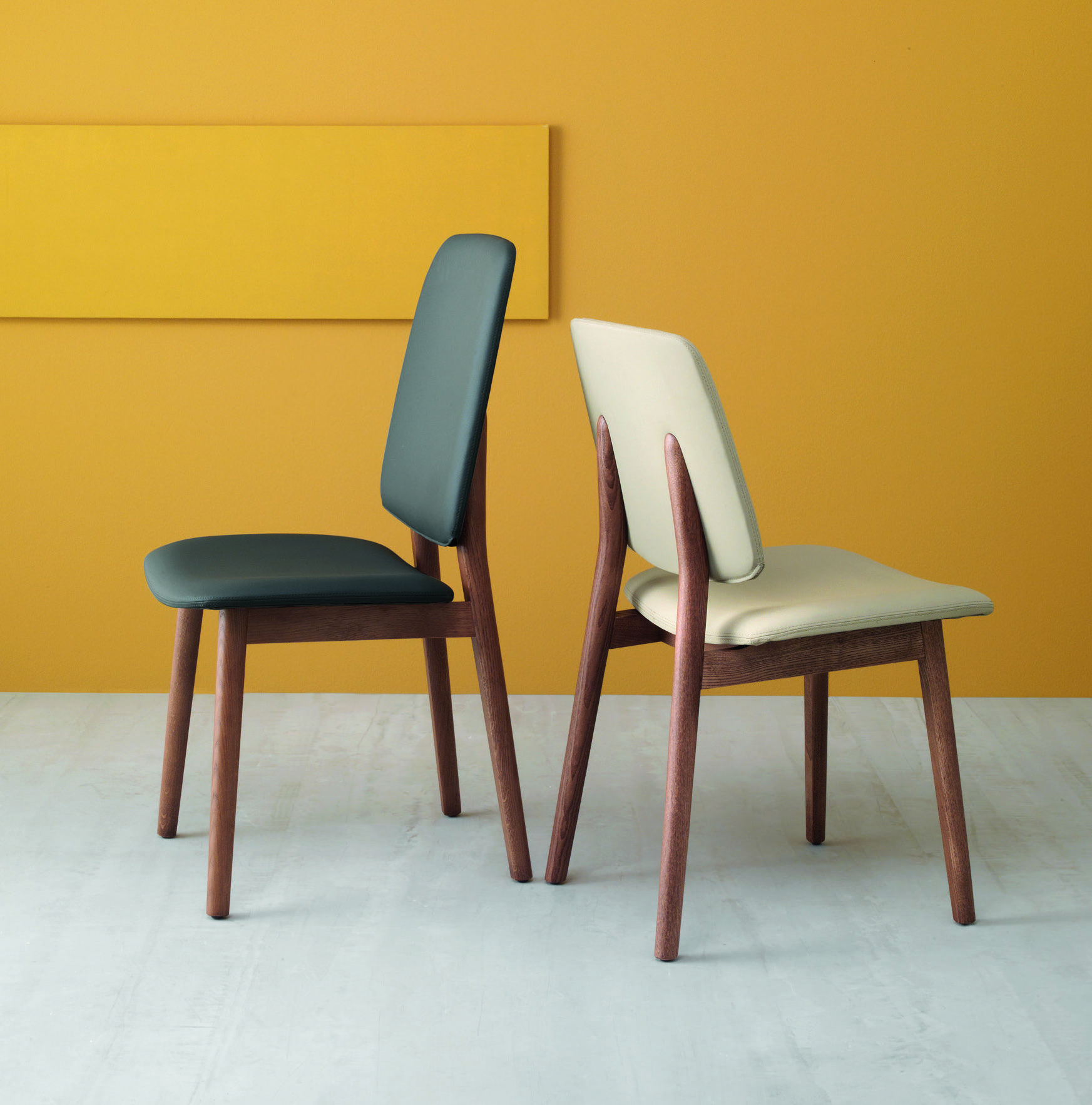 Sedie Moderne Design In Legno.Set 2 Sedie Design Moderno In Legno E Ecopelle Luxy Low Sedia Con