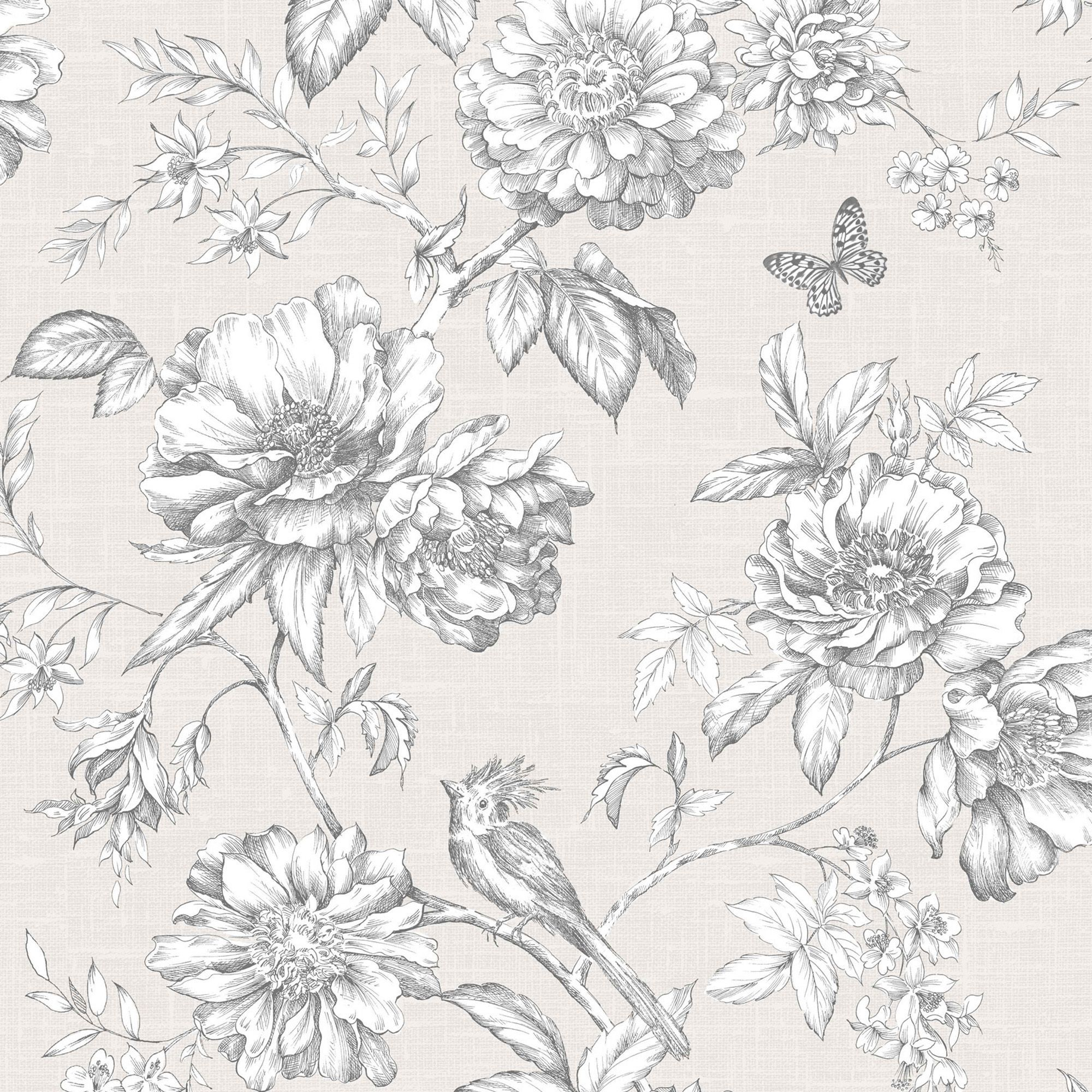 Menagerie Cream White Floral Embossed Wallpaper Departments