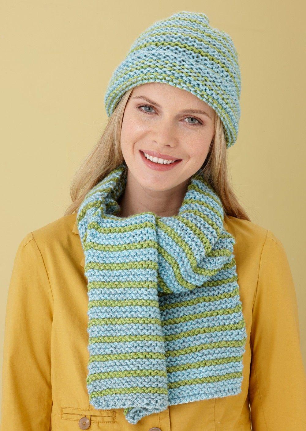 Striped Hat And Scarf Pattern (Knit) Crochet knit hat