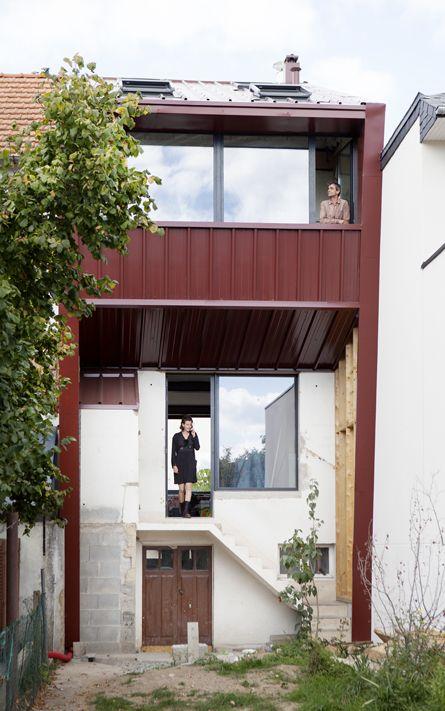 extension sur l vation et r novation compl te d 39 une maison bac acier mnm architectes rennes. Black Bedroom Furniture Sets. Home Design Ideas