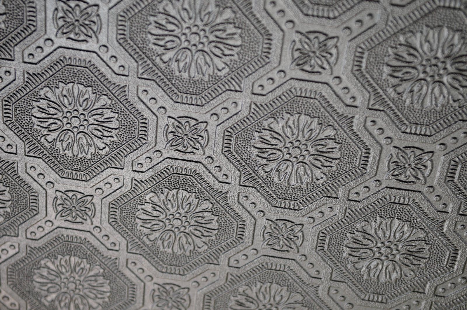 My old country home faux tin tile ceiling reveal - Textured wallpaper on ceiling ...
