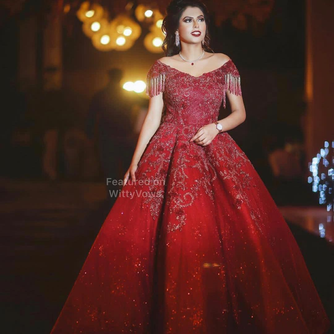 11dc478f8e5 Beautiful bride in Stunning Red ball gown for her Engagement