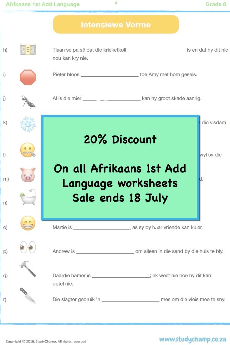 Afrikaans 1st Add Language workbooks - Grade 3 to 8   Afrikaans [ 1102 x 735 Pixel ]
