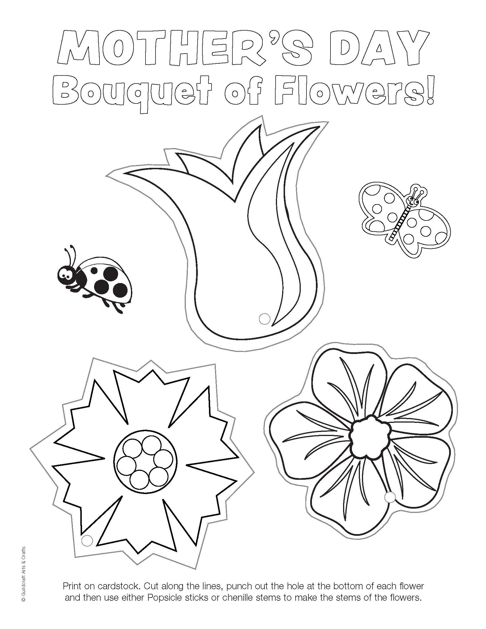 Ready-to-Color Mother's Day Flowers printable