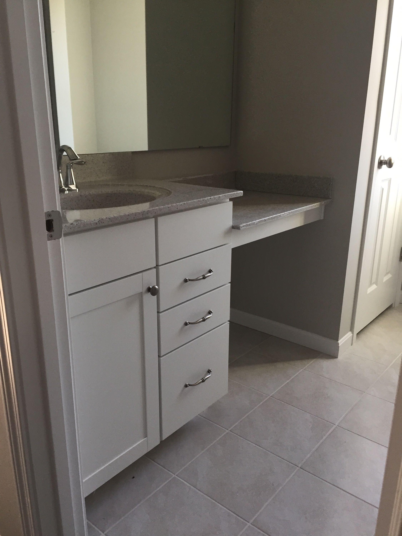 Hall Bath Single Bowl Vanity  Brellin White Cabinets