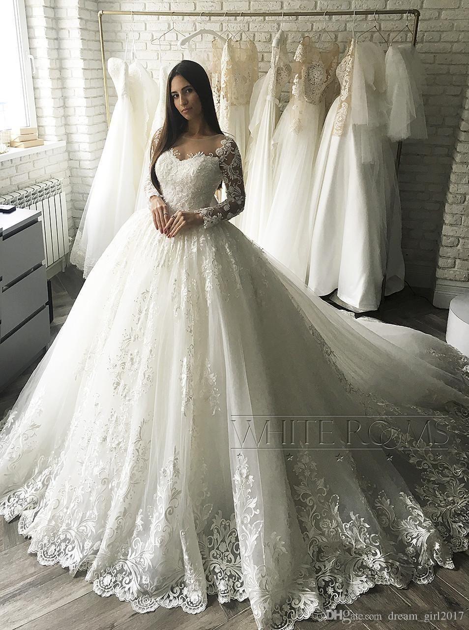 Großhandel 2017 Luxus Spitze Applique Long Sleeve Prinzessin ...