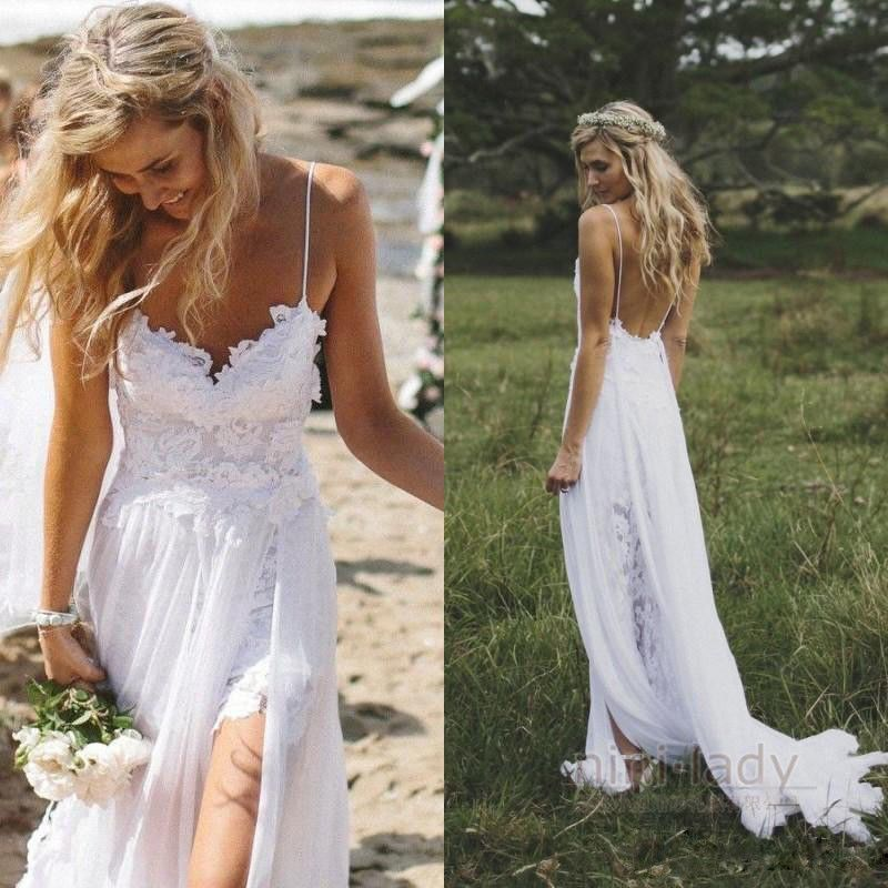 Bohmische Hochzeitskleider Strand Chiffon Boho Brautkleid Abendkleid