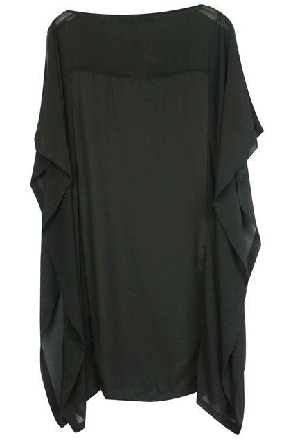 Asymmetric Flouncing Zippered Black Dress