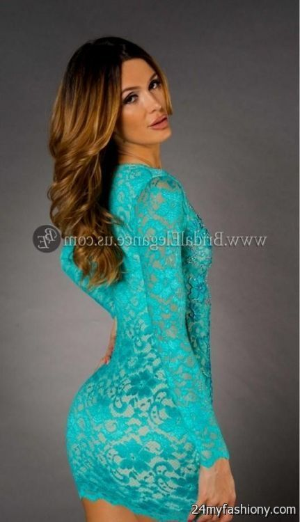 Womens turquoise lace dress