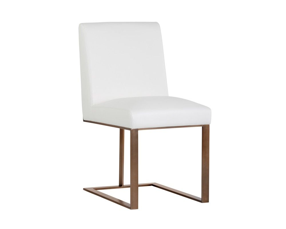 Dean Dining Chair Antique Brass White Leather White Leather