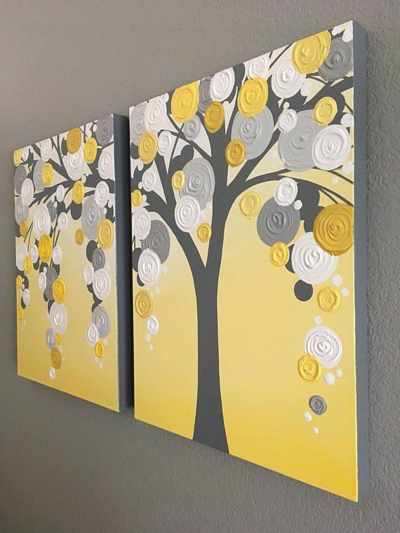 Witte, gele en grijze geweven kunst Acryl schilderij op Canvas--MADE