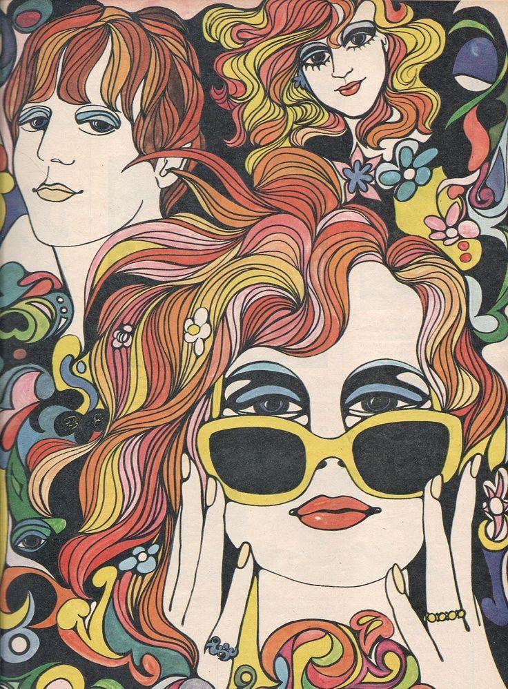 Goede E.: Foto   Retro kunst, Jaren 60 kunst, Hippie kunst SK-49