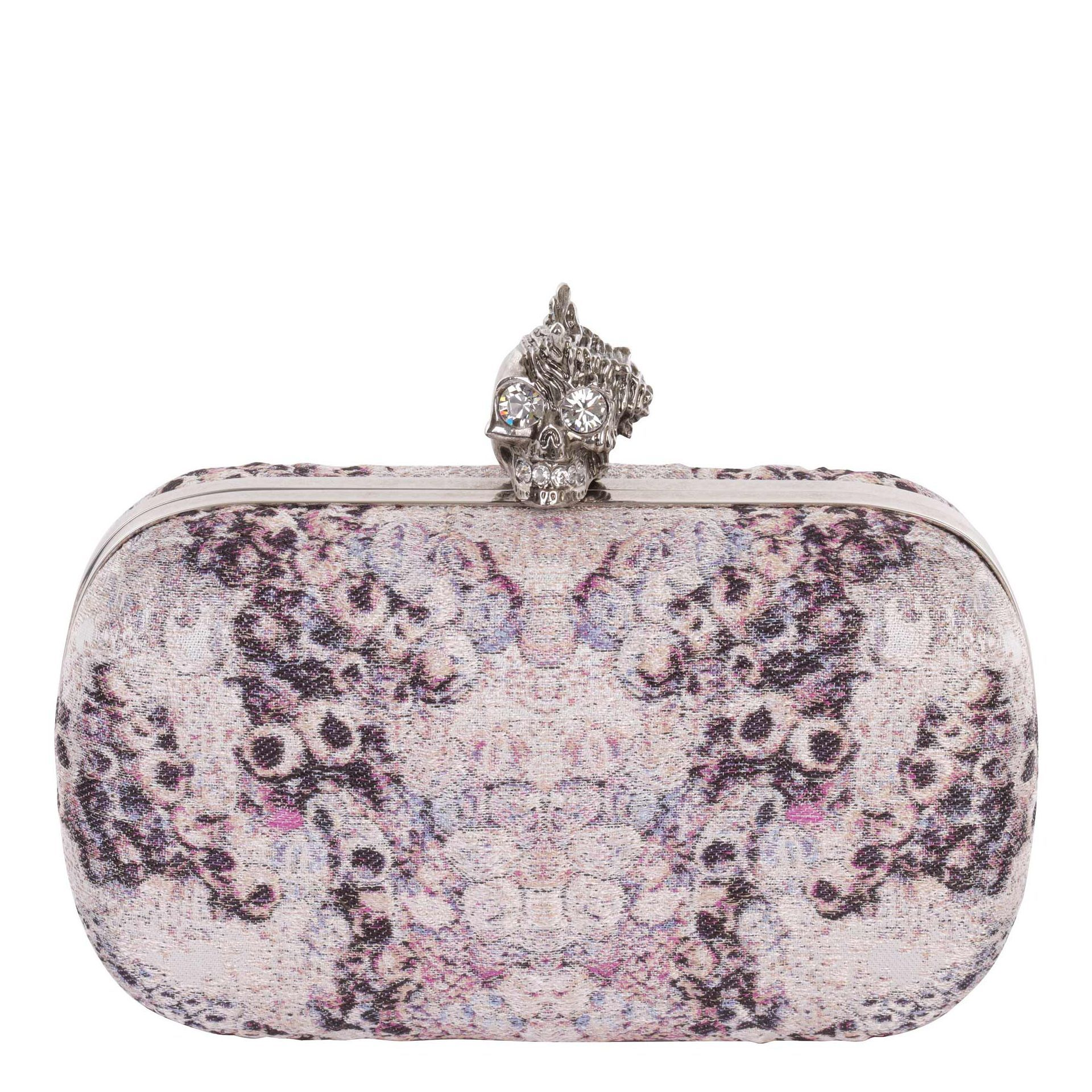 BARNACLE JACQUARD SHELL PUNK SKULL BOX CLUTCH    DESCRIPTION  Silk barnacle jacquard skull box clutch with crystal detail silver finish shell punk skull clasp.    DIMENSIONS:  16cm width, 9.5cm height, 6cm depth  MATERIAL:  silk, leather and silver finish brass