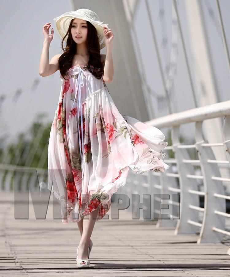 Floral Print Chiffon Pleated Korean Spring Trendy Maxi Dress with ...