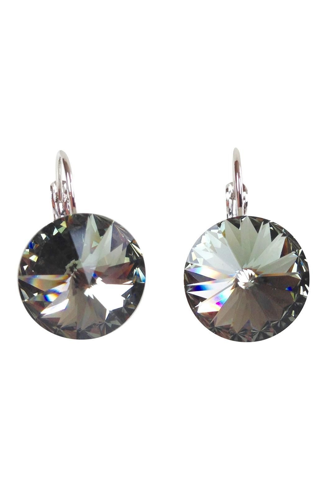 16f8b3958 Glistening smoke gray Swarovski Crystal Earrings set with locking french  hooks. These brilliant stones are 15mm in size, which is a little smaller  than a ...