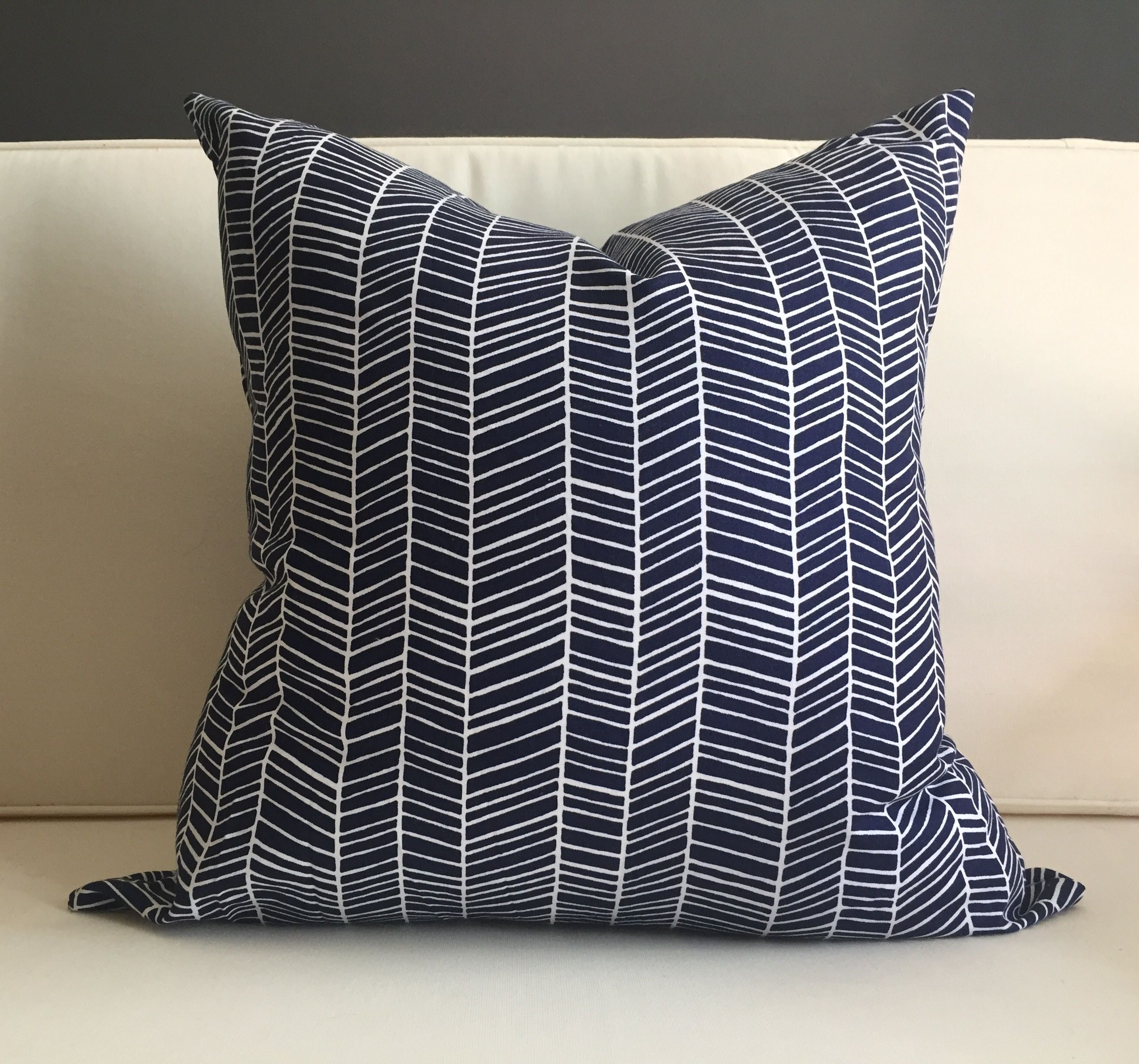 Pillow Cover Navy Blue And White Herringbone Pillow Cover Herringbone Pillow Navy Couch Pillows Navy Pillow Cover