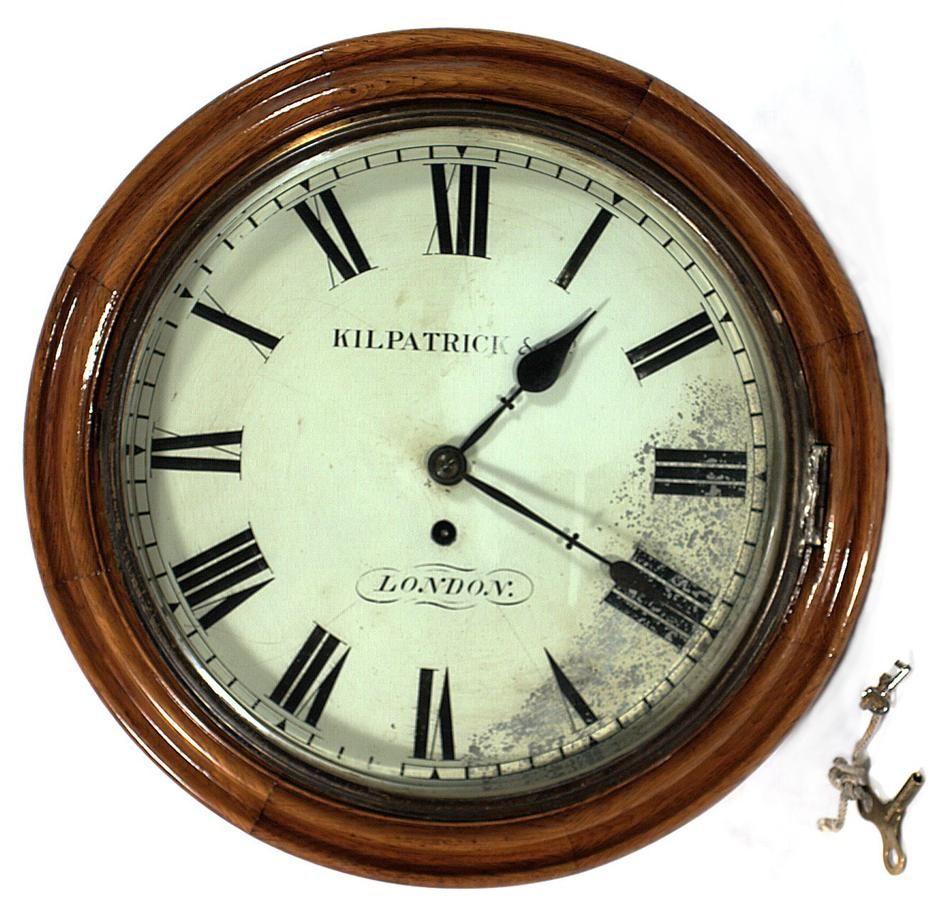 Wall clock used in a mental health hospital in Victoria Australia, circa 1890. Collection: Museum Victoria