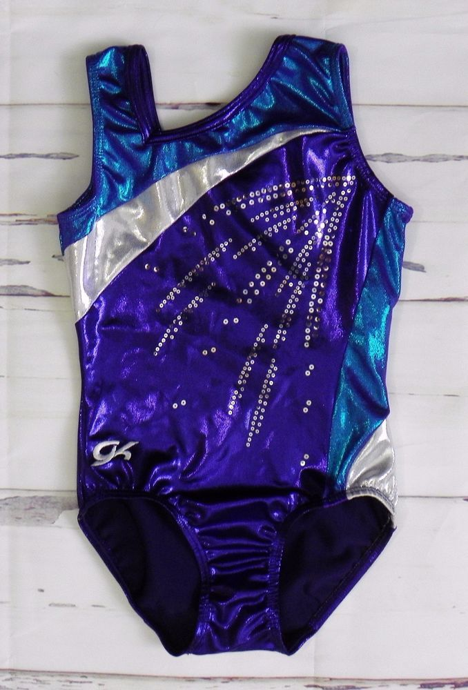 f2b2cb355c3d GK ELITE Blue Purple White Foil Dance Gymnastics Leotard Size AXS ...