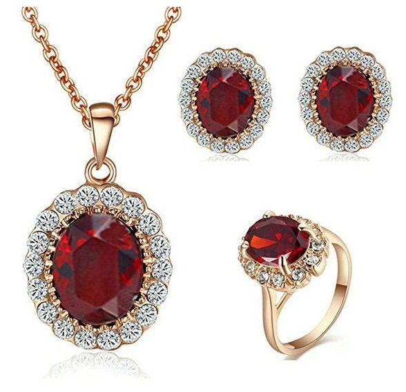 a5d925905cb2 Yoursfs conjunto de joyas collar anillos pendientes para mujer oro rosa 18  kilates