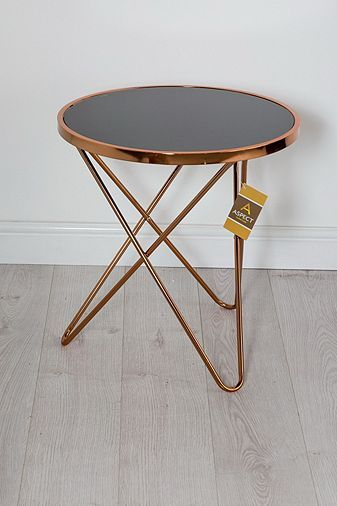 Porto Round Side Coffee End Lamp Table Metal Copper Black