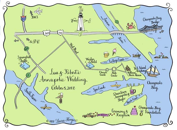 Custom Hand Drawn Wedding Maps of Washington DC Area