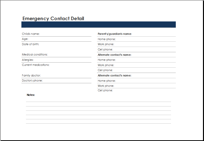 Emergency Contact List Template At XltemplatesOrg  Microsoft
