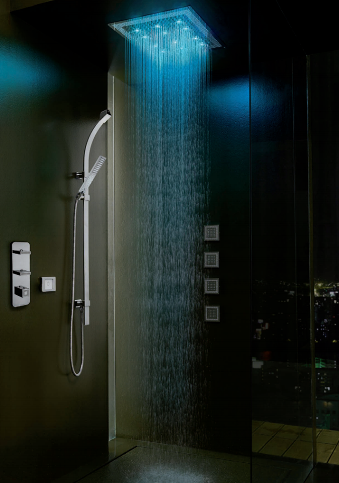 Shower Head With Built In Lights This Awesome Bossini Shower Offers Various Lighting Possibili Amazing Bathrooms Bathroom Heat Lamp Bathroom Design