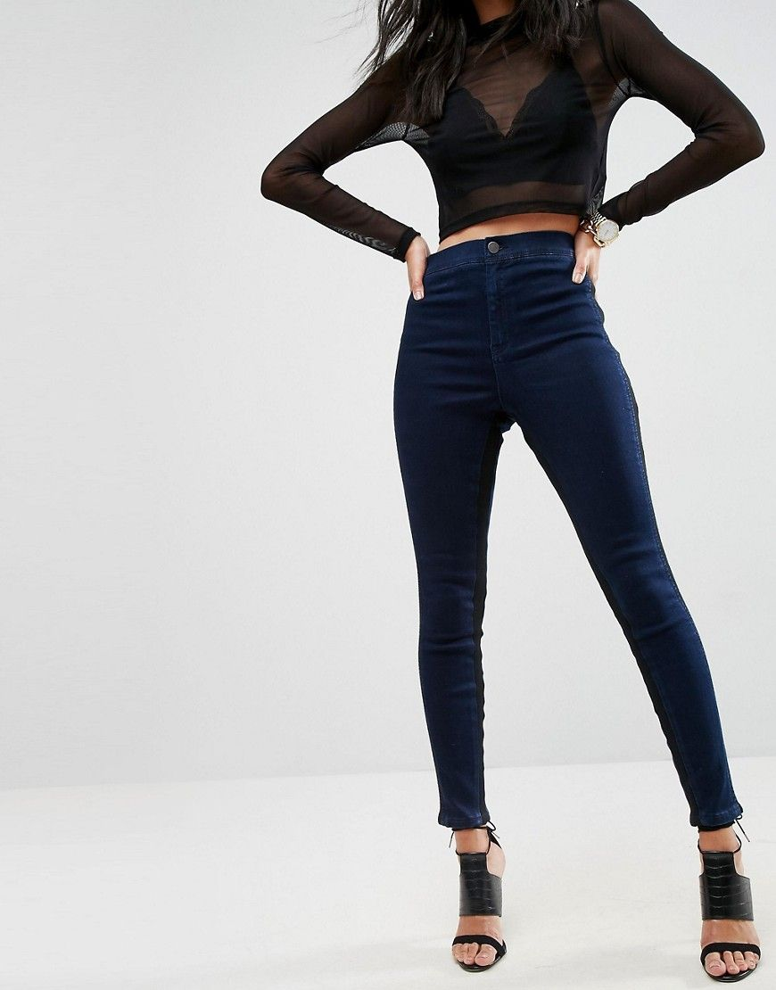 Cheap Sale Original Prices Cheap Online RIVINGTON High Waisted Jegging with Side inserts - Dark wash blue Asos Petite Fashionable Pictures 42rRc5
