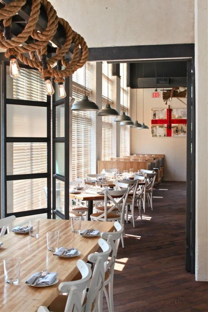 industrial pendant lighting and warehouse shades in restaurant industrial farmhouse - Farmhouse Restaurant Ideas