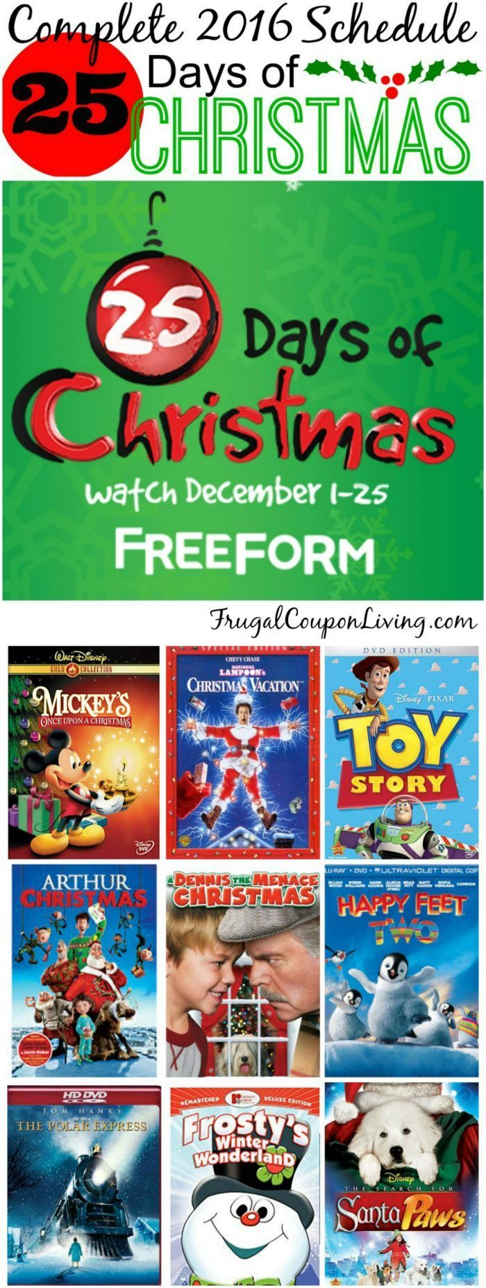 Freeform 25 Days of Christmas 2016 movie schedule on
