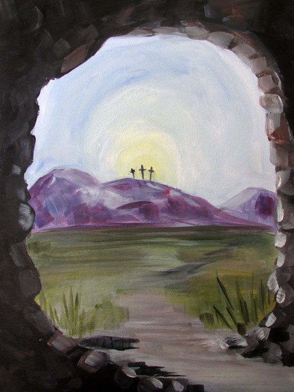 Amazing He is Risen sip & paint painting sample for Inner Artist Studio by April Ryan New - Simple Sip and Paint Locations Idea