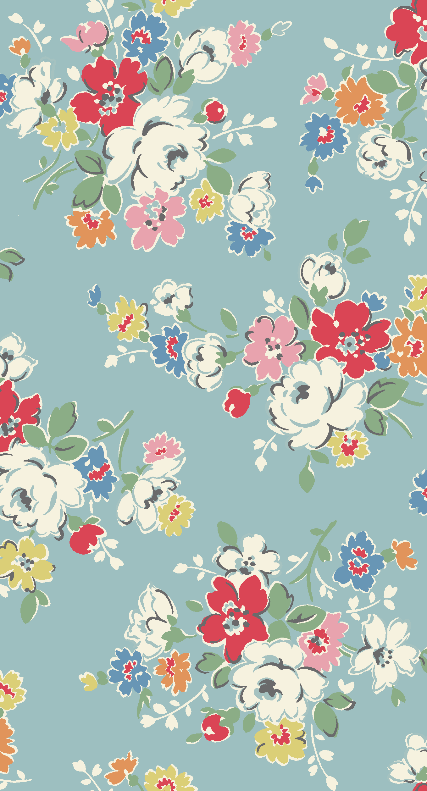 Clifton Rose | A modern vintage mid scale floral in cheerful ...
