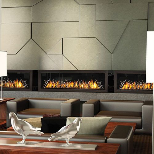 custom linear gas fireplace for houlihans restaurant designed by