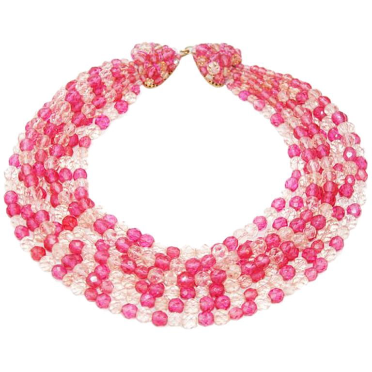 Gorgeous Glamour Coppola e Toppo Pink Necklace | From a unique collection of vintage beaded necklaces at https://www.1stdibs.com/jewelry/necklaces/beaded-necklaces/