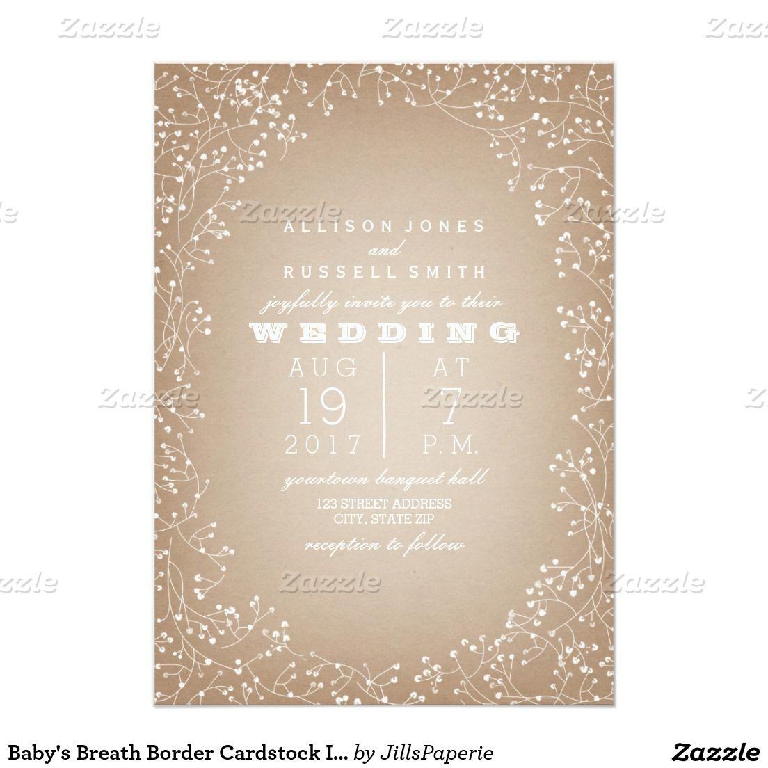 Baby S Breath Border Cardstock Inspired Invitation Zazzle Com Wedding Invitation Paper Invitations Floral Wedding Invitations