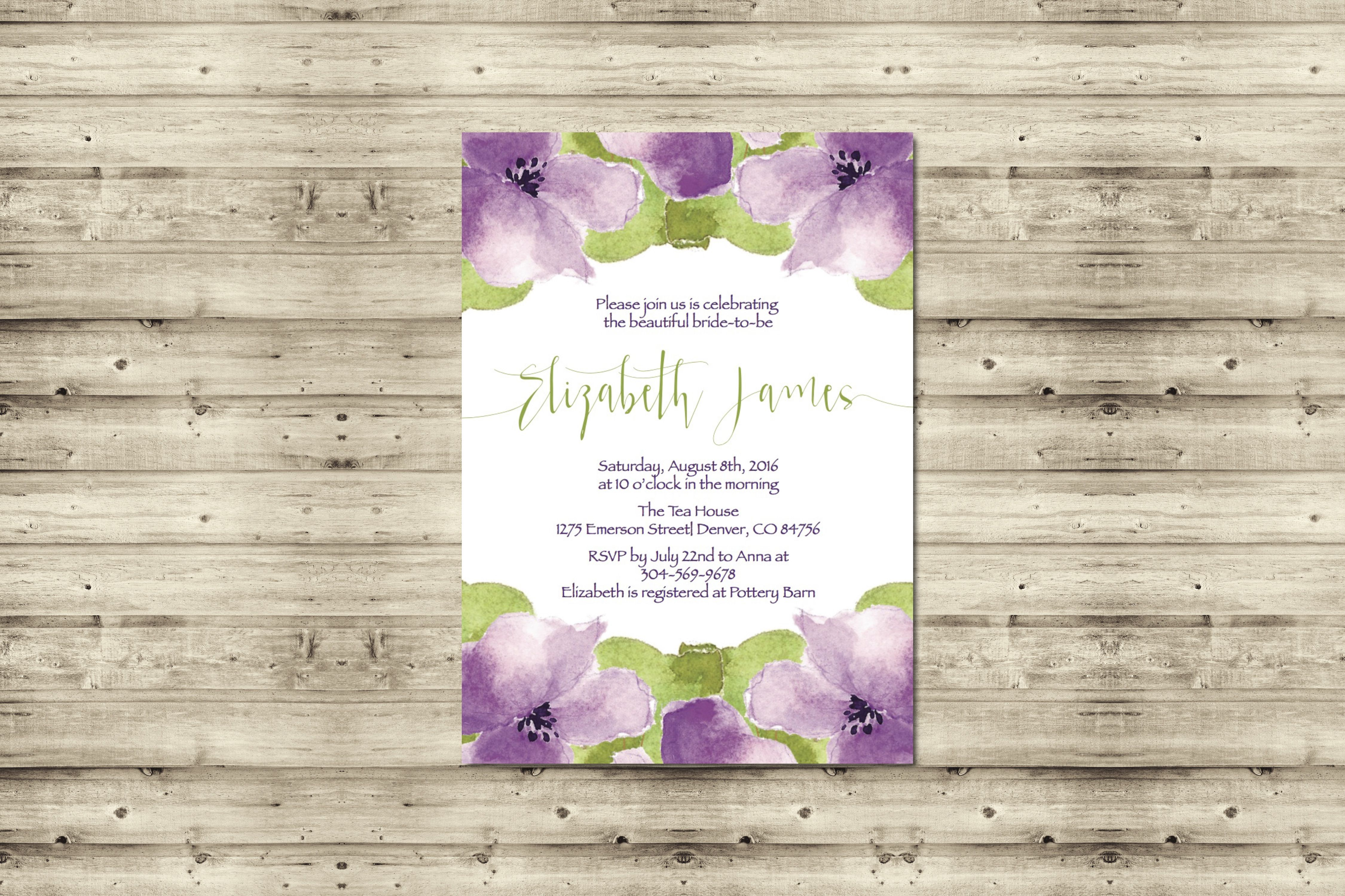 Sweet Violet Bridal Shower Invitation Purple And Spring Green