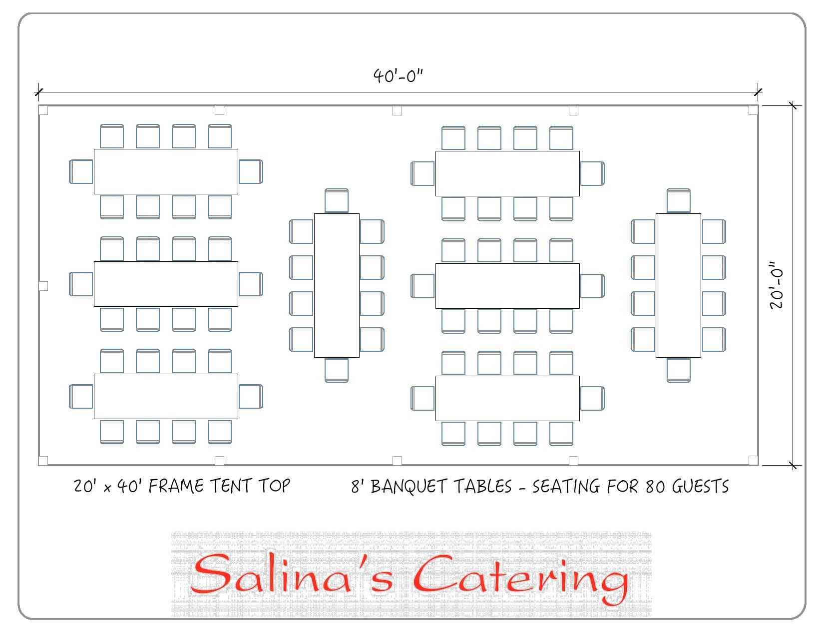 With this layout you will be able to seat 80 guests fortably at 8 of our 8 foot long banquet tables