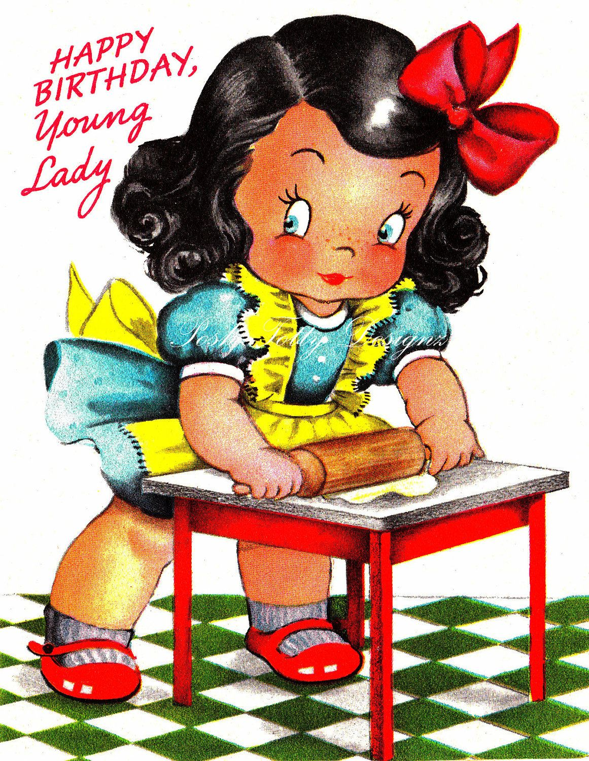 Little girl baking greetings card vintage by