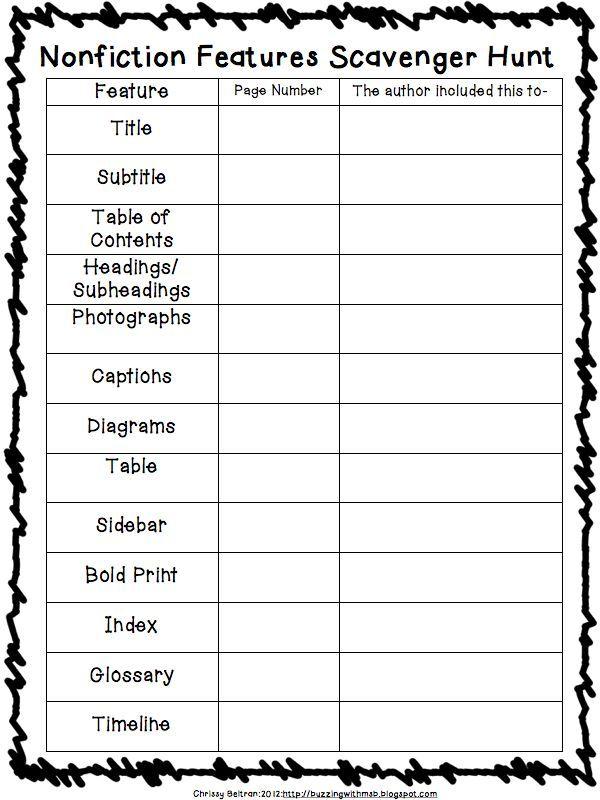 Nonfiction Text Features Scavenger Hunt Free! | Nonfiction text ...