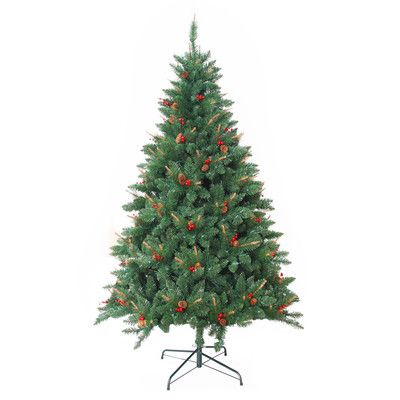 Jeco Inc. Pre-Lit 7' Green Berrywood Pine Artificial Christmas Tree with 400 Pre-Lit Lights with Stand