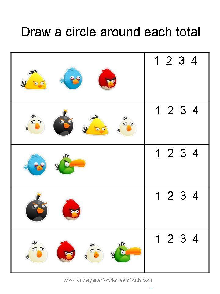Angry Birds Math Worksheets for Kindergarten | Education | Pinterest