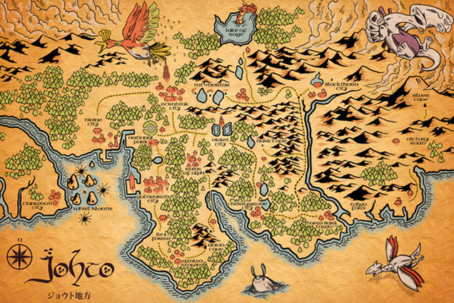 Pokémon s Johto Region As A Middle Earth Style Map