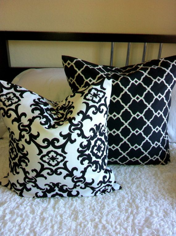 Popular SALE Chic black and white damask print throw pillow cover - throw pillows for sofa For Your House