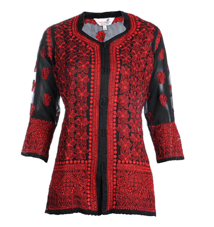 India Indiankala4U Ladies ethnic  Chikankari Hand Embroidery Kurtis/Top/Tunic for summer wear women/ladies/girls by Indiankala4u on Etsy